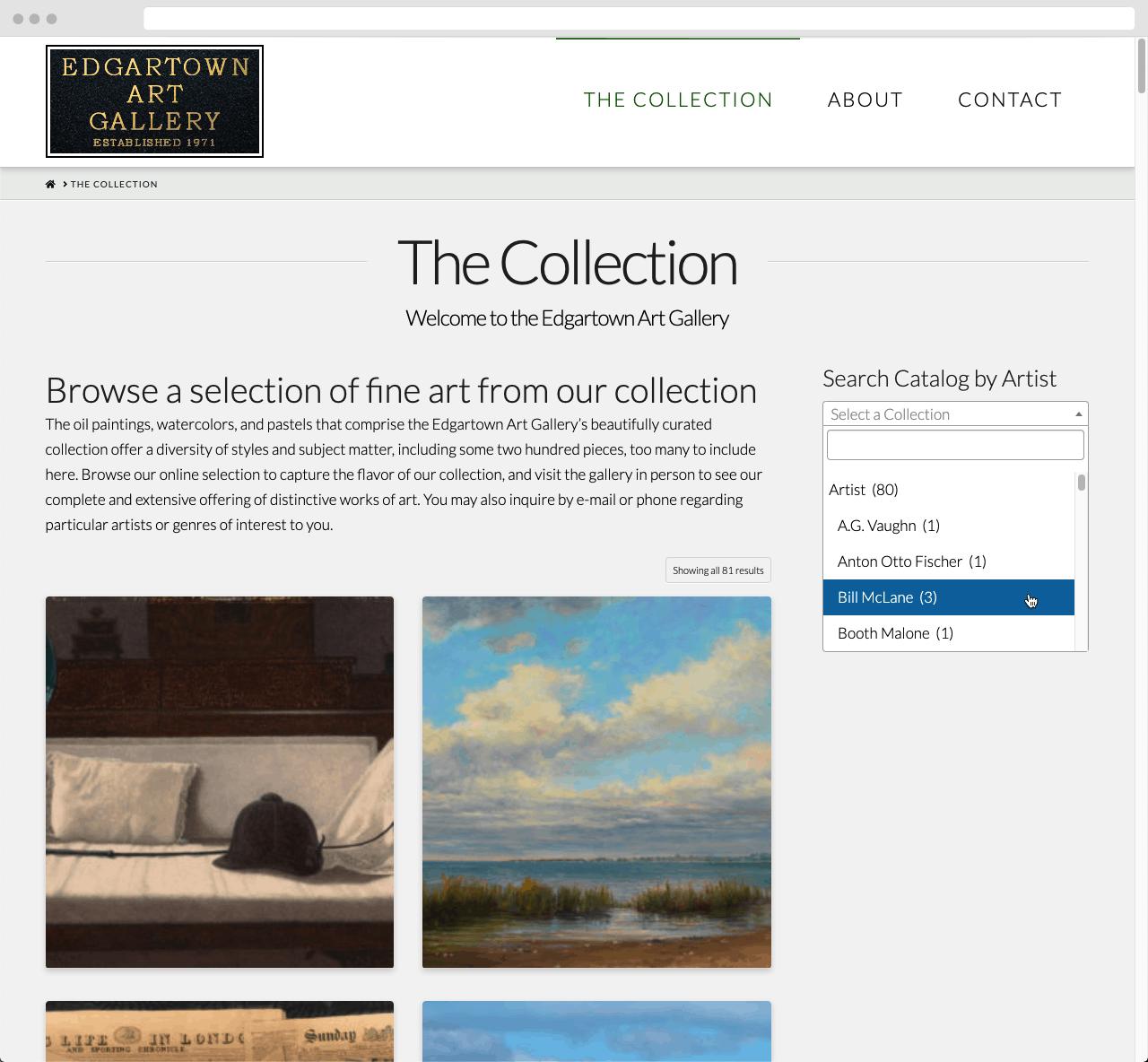Edgartown Art Gallery 02 WordPress Website Design