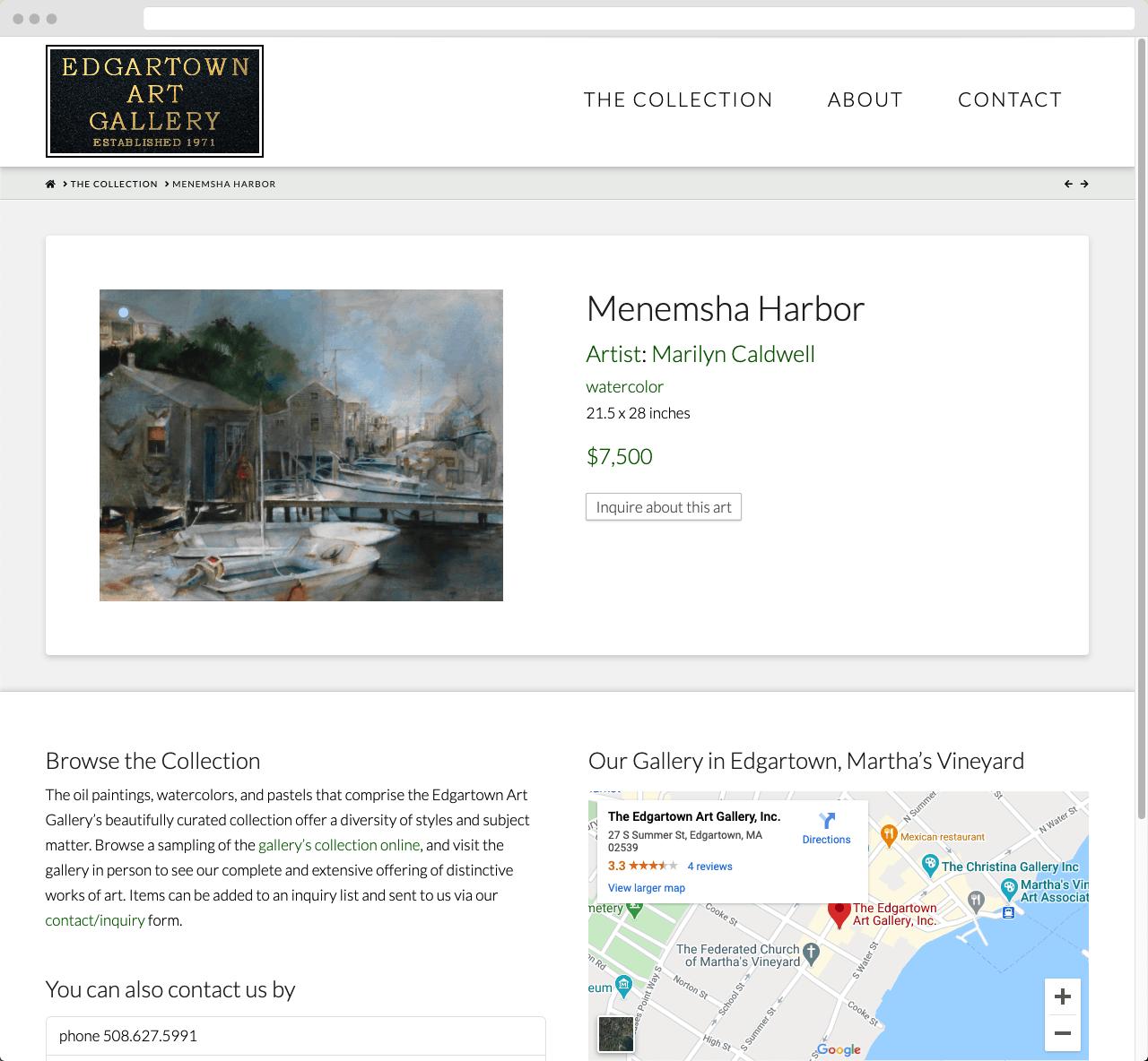 Edgartown Art Gallery 03 WordPress Website Design
