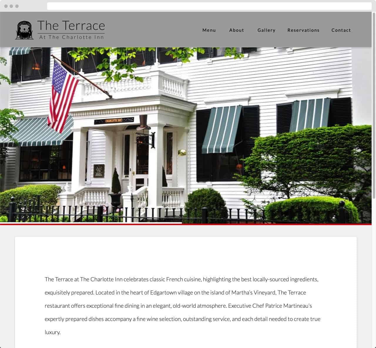 The Terrace at TheCharotte Inn 02 WordPress Website Design