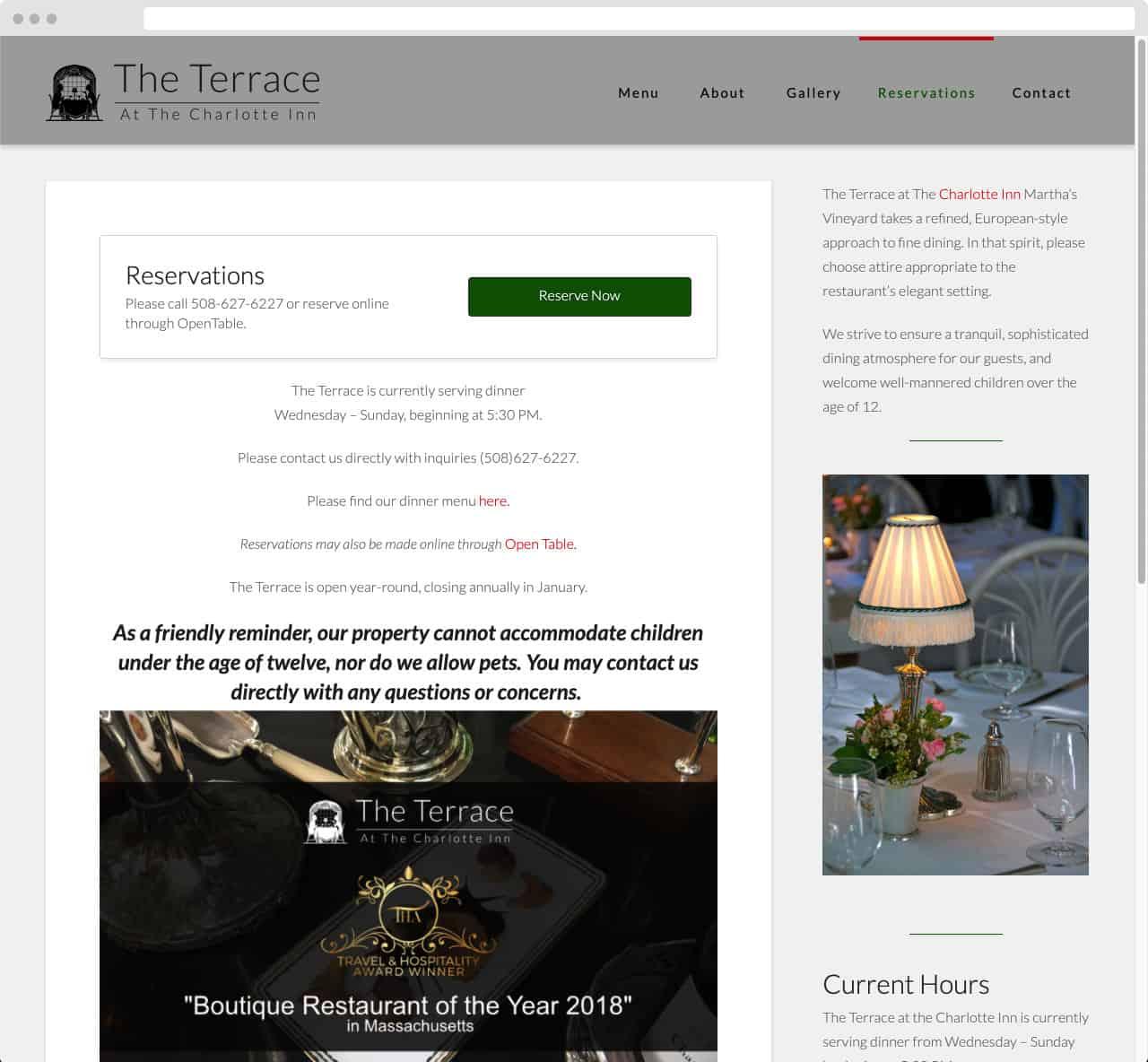 The Terrace at TheCharotte Inn 03 WordPress Website Design